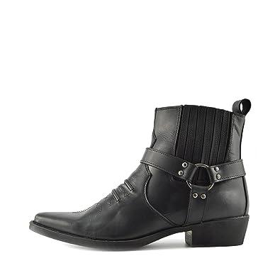 e726bbb677cca5 Kick Footwear - Herren Cowboy Ankle Boots Aus Leder Biker-Boots Aus ...