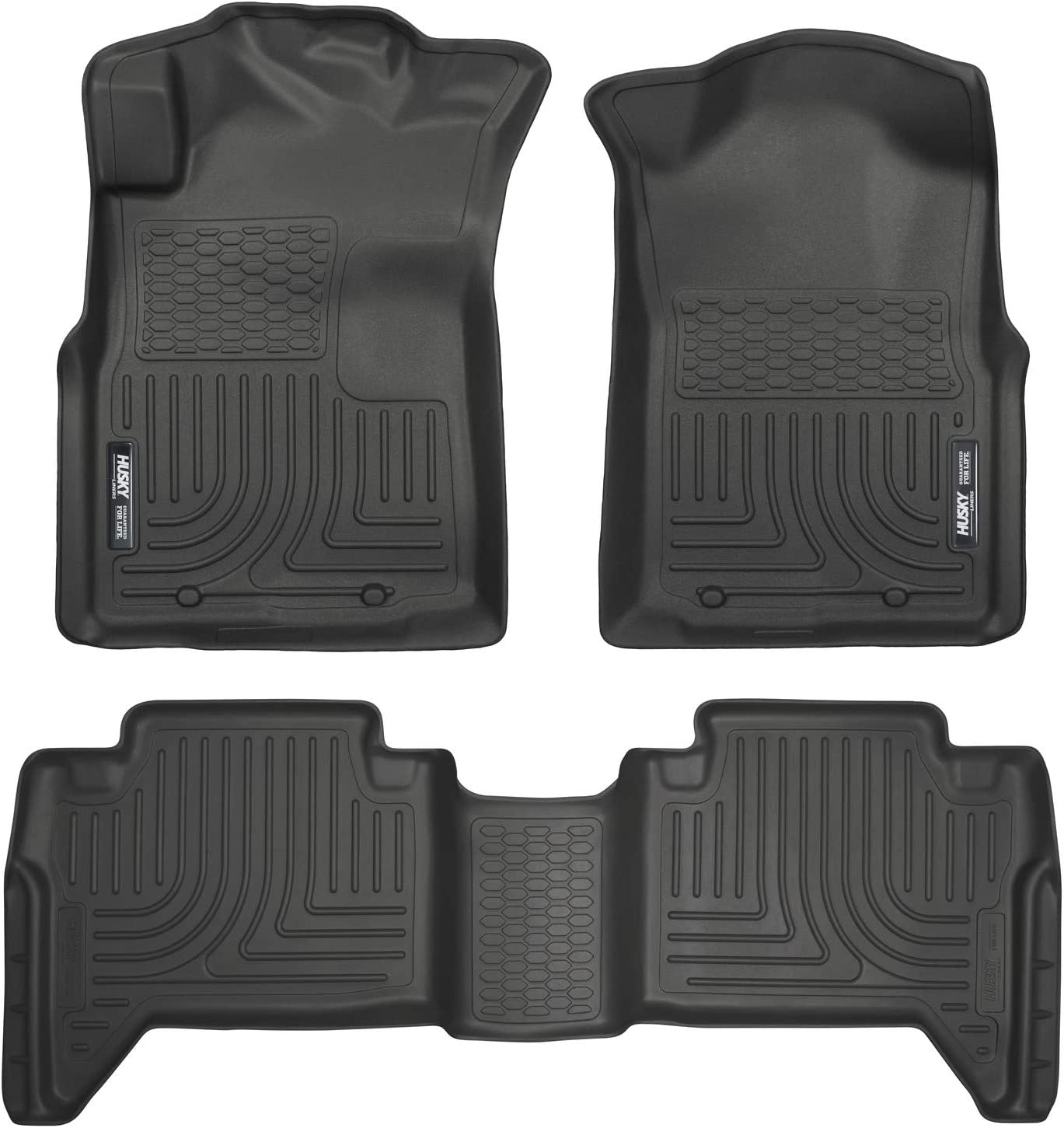 Husky Liners 98951 Black Weatherbeater Front & 2nd Seat Floor Liners (Footwell Coverage) Fits 2005-15 Toyota Tacoma Double Cab
