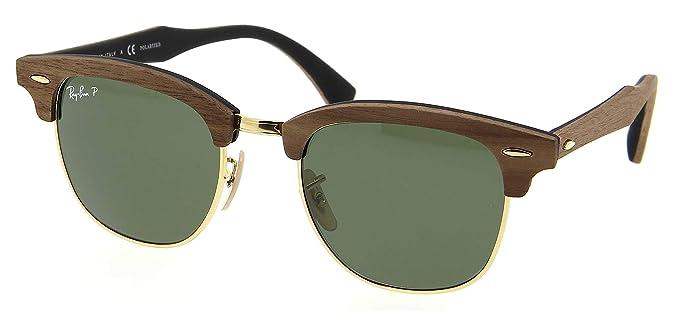 7ad5ac2da6859 Amazon.com  Ray-Ban RB3016M Clubmaster Wooden Square Unisex Sunglasses ( Walnut Rubber Black Frame