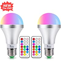 E27 Colour Changing Light Bulb 10W Dimmable RGBW LED Light Bulbs Mood Lighting with 21key Remote Control,Dual Memory Function,12 Color Choices for Home, Party, Bar, Stage Effect Lights,2-Pack