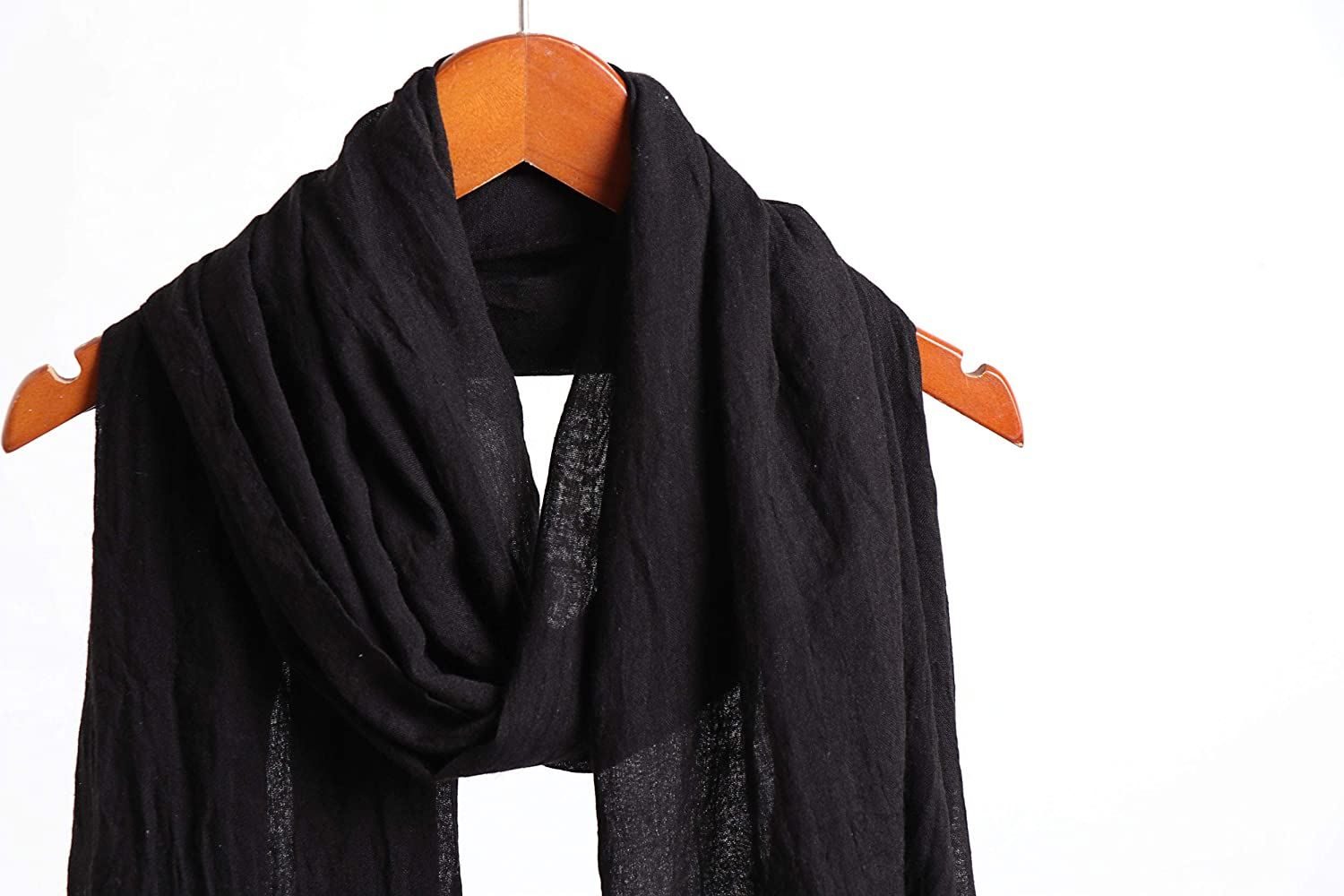 b19d57469 Cotton Feel Scarf Shawl Wrap Soft Lightweight Scarves And Wraps For Men And  Women. (Black) at Amazon Women's Clothing store