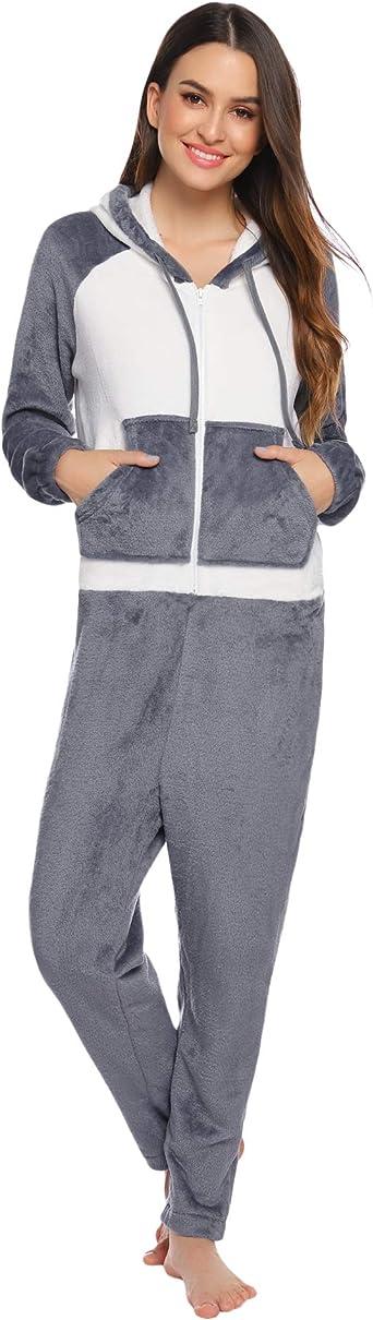 Aibrou Pijama de Franela para Mujer Invierno Pijamas de Manga Larga para Adultos Pijamas de Una Pieza de Halloween con Capucha