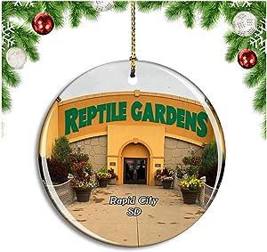 Rapid City Reptile Gardens South Dakota USA Christmas Ornament Xmas Tree Decoration Hanging Pendant Travel Souvenir Collection Double Sided Porcelain 2.85 Inch