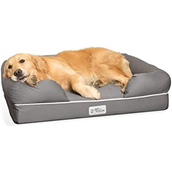 PetFusion Ultimate Dog Bed, CertiPUR-US Orthopedic Memory Foam, Size/Color Options, Medium Firmness Pillow