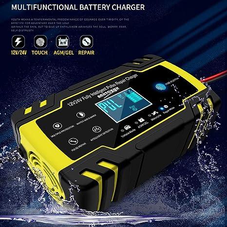juman634 Cargador de batería Inteligente Universal para automóviles Motocicletas 12V 24V Tipo de reparación Inteligente Cargador de Almacenamiento de ...