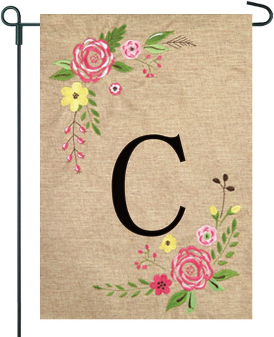 JEC Home Goods Floral Monogram Garden Flag - Summer or Spring Garden Flag 12.5 x 18 (C)