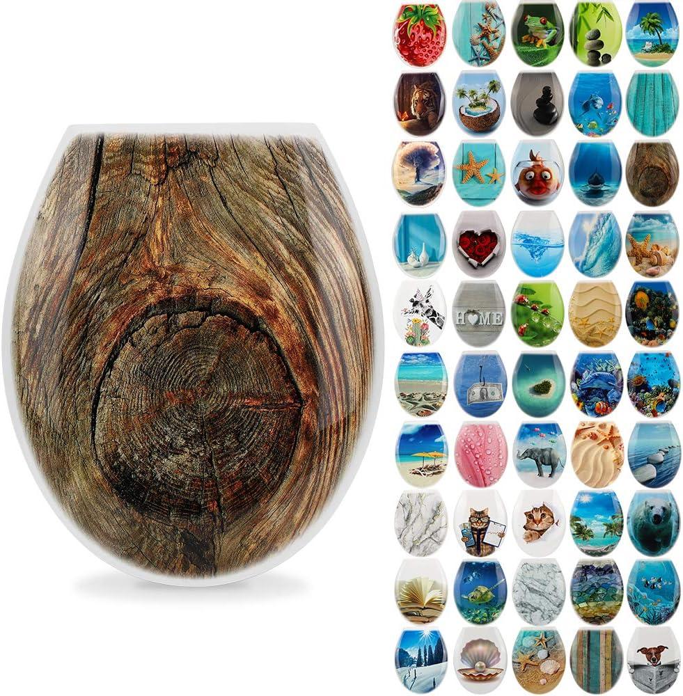 Coconut Island Ohok Abattant WC Plastique Rigide de Haute Qualit/é Antibact/érien Couvercle de Toilettes Facile /à Installer Divers Motifs Si/ège de Toilette pour Salle de Bain