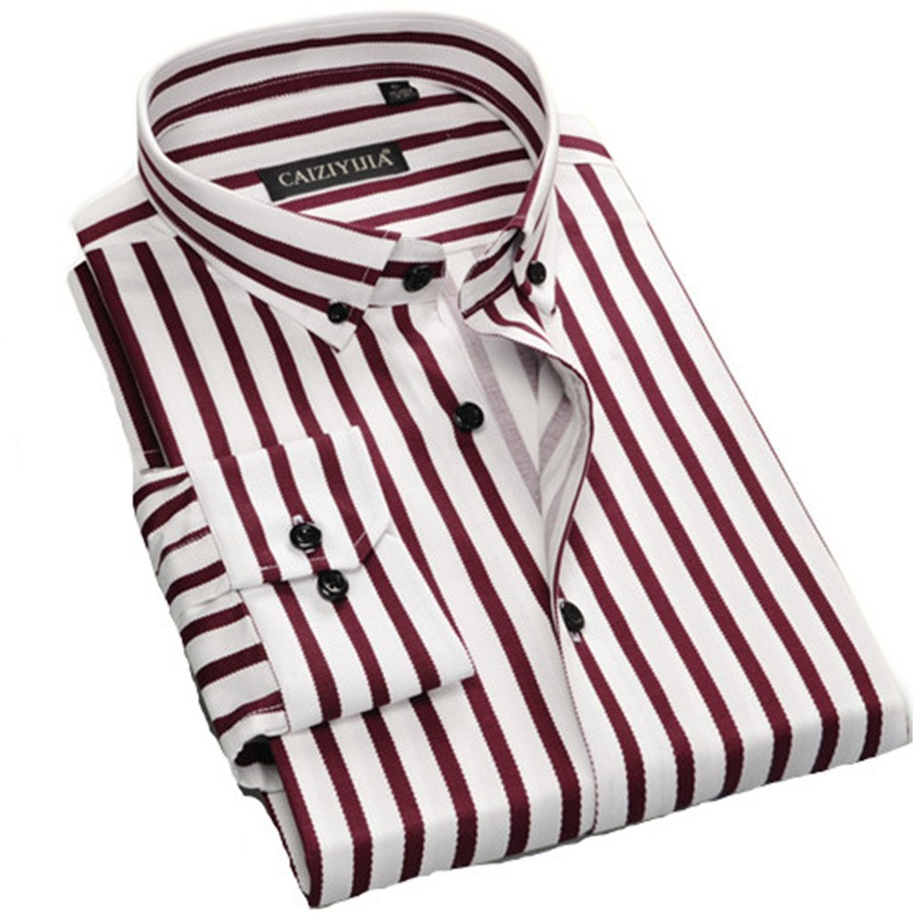 Mens Contrast Multi-Striped Casual Dress Shirts Square Collar Slim Fit Shirt