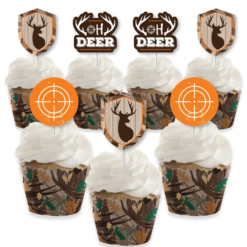 Gone Hunting - Cupcake Decoration - Deer Hunting Camo Baby Shower or Birthday Party Cupcake Wrappers and Treat Picks Kit - Set of 24 by Big Dot of Happiness