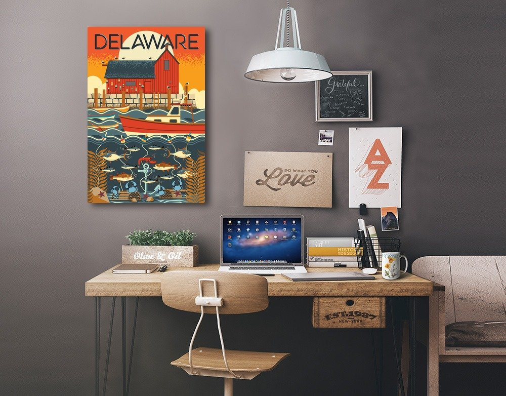 12x18 Gallery Quality Metal Art Geometric Delaware