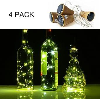 4 pcs Botellas con Luz, 10 LED Solar Corcho con Luz, Luz Botella para