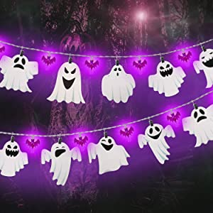 Halloween Lights 9.8 ft 18 LEDs Bat String Twinkle Lights with 17 Pieces Ghost Decor, Battery Operated Halloween Decoration for Garden, Indoor, Porch, Outdoor Decor