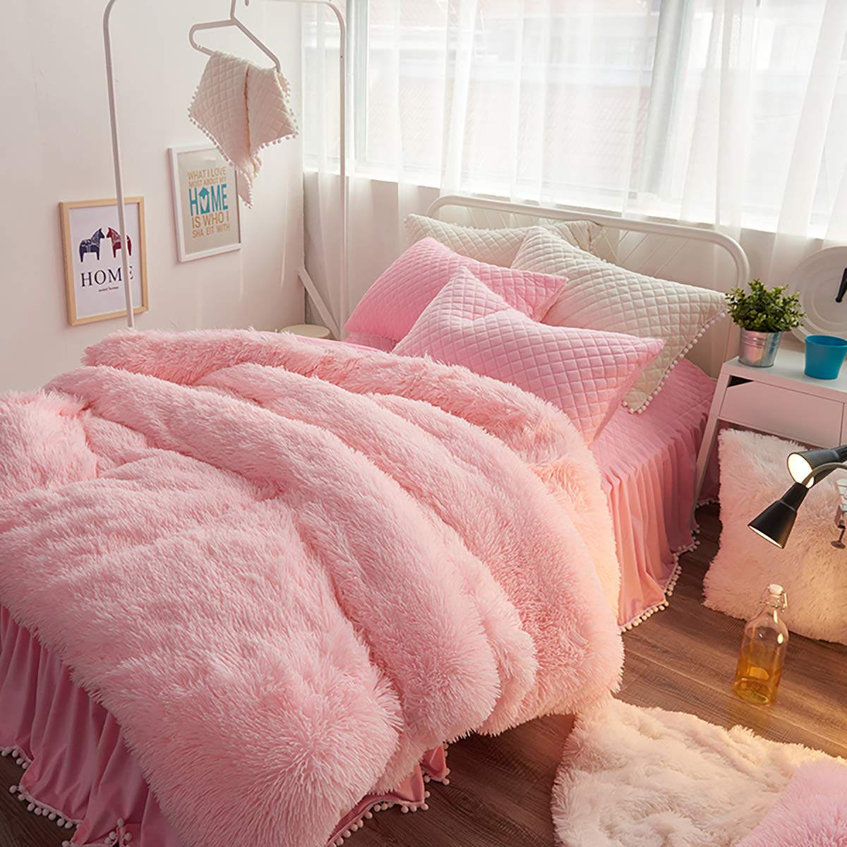 Uozzi Bedding Luxury Plush Shaggy Flannel 3 PC Duvet Cover Set (1 Faux Fur Duvet Cover + 2 Quilted Pillow Shams) Solid,No Inside Filler,Zipper Closure Warm and Soft for Winter (Pink,King)