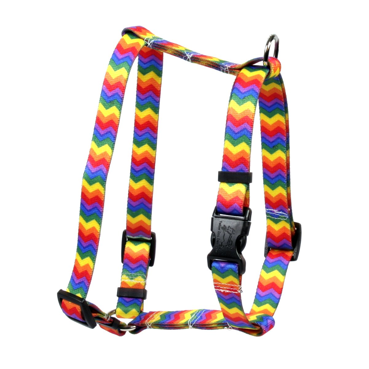Yellow Dog Design Rainbow Chevron Roman Style H Dog Harness, X-Small-3/8 Wide and fits Chest of 8 to 14''