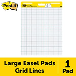 Post-it Super Sticky Easel Pad, 25 x 30 Inches, 30 Sheets/Pad, 1 Pad (560SS), Large White Grid Premium Self Stick Flip Chart Paper, Super Sticking Power