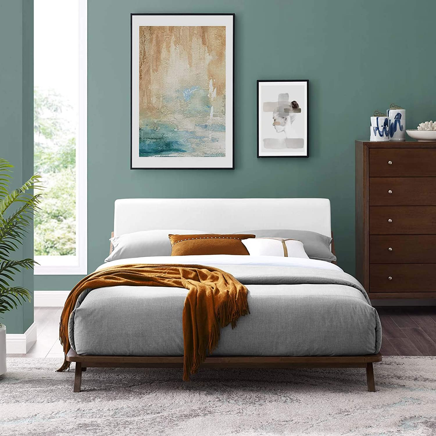 7fa5e76d57 Amazon.com: Modway MOD-6047-CAP-WHI Luella Queen Upholstered Fabric Platform  Bed Cappuccino White: Kitchen & Dining