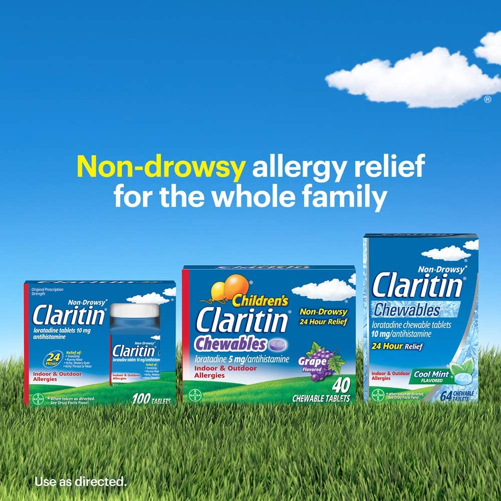 Claritin 24 Hour Chewable Allergy Relief, Non-Drowsy Allergy Medicine, Loratadine Antihistamine, Cool Mint Flavored Tablets, 64 Count: Health & Personal Care