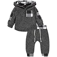 Ritatte Infant Toddler Boys Girls Sweatshirt Set Winter Fall Clothes Outfit 0-3 Years Old,Baby Plaid Hooded Tops Pants