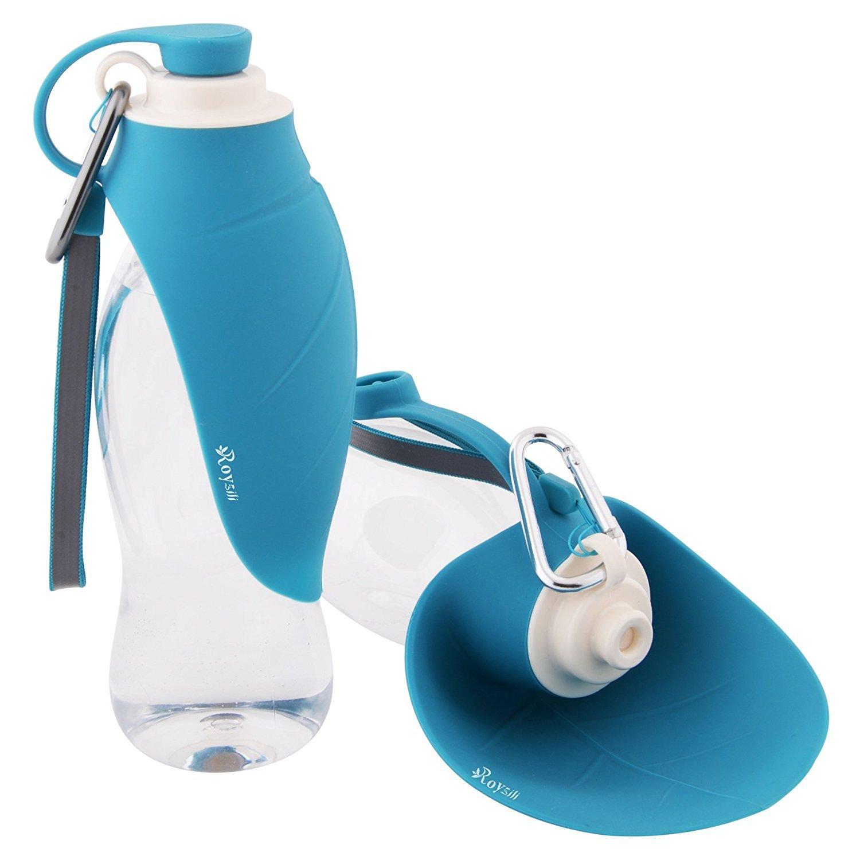 Roysili Portable Dog Water Bottle Expandable Silicone Dog Travel Water Bottle Dispenser Great For Travel Blue