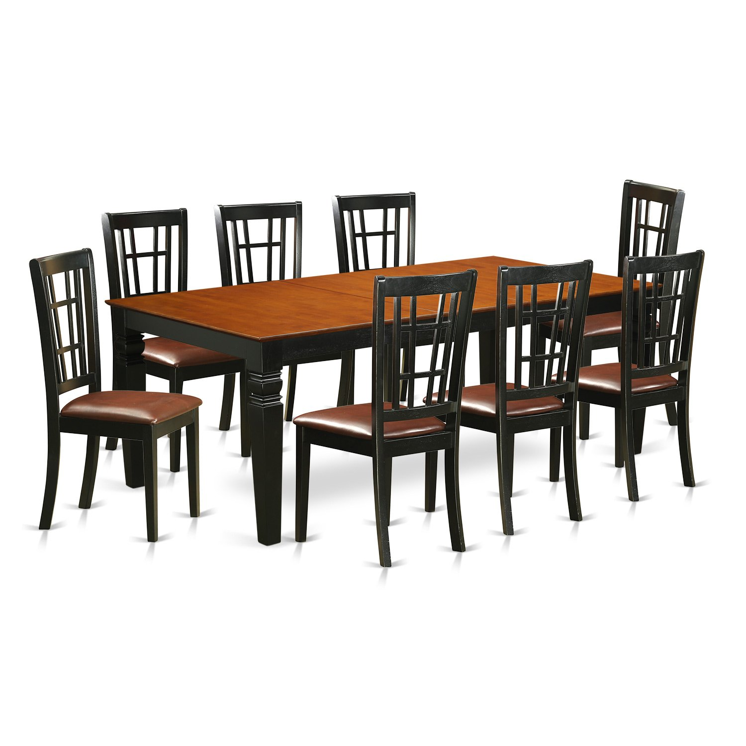 East West Furniture 9 PC Kitchen Table Set with One Logan Dining Table & Eight Dining Room Chairs in black & Cherry Finish by East West Furniture