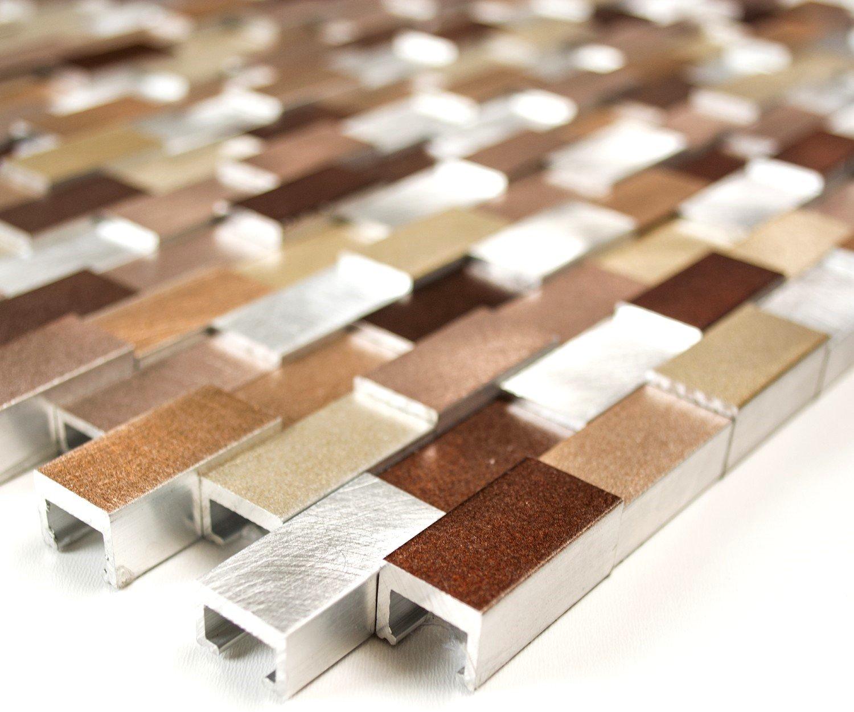 Mosaic Network Mosaic Tile Brick Aluminium 3D Mix Aluminium Silver/Copper Metal Wall Tile Backsplash Kitchen Bathroom Toilet Mosaik-Netzwerk