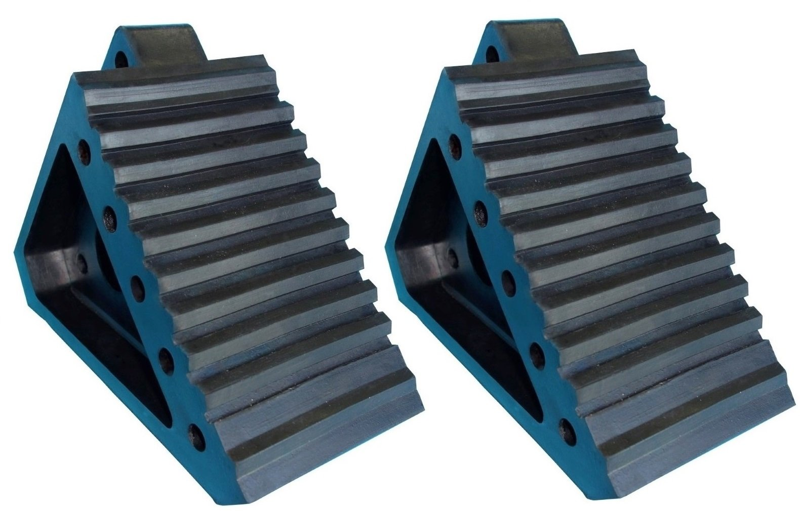 YM W4194 Solid Rubber Wheel Chock with Handle, 8-3/4'' Length, 4'' Width, 6'' Height - Pack of 2