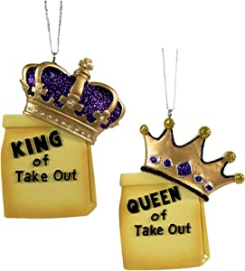 Kurt Adler Set/2 Take Out Fast Food King Queen Xmas Tree 2020 Ornament Decor