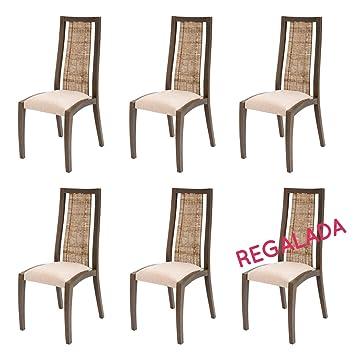 Rebajas : -48% Lote de 6 sillas de Ratan para Comedor Vic ...