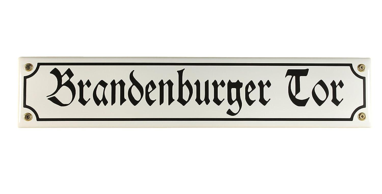 Digger Bini Plaque Sign Brandenburg Gate Berlin Souvenir Email Street Enamel 40 CM x 8 CM White