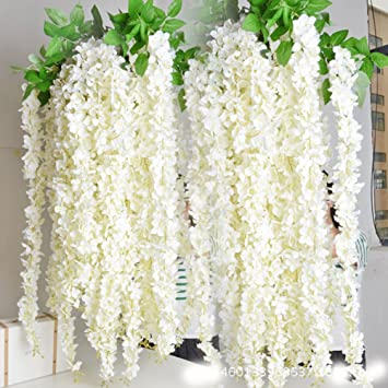 40 Quot Long Artificail Silk White Wisteria Flower Vine Wedding Home Plant Decor