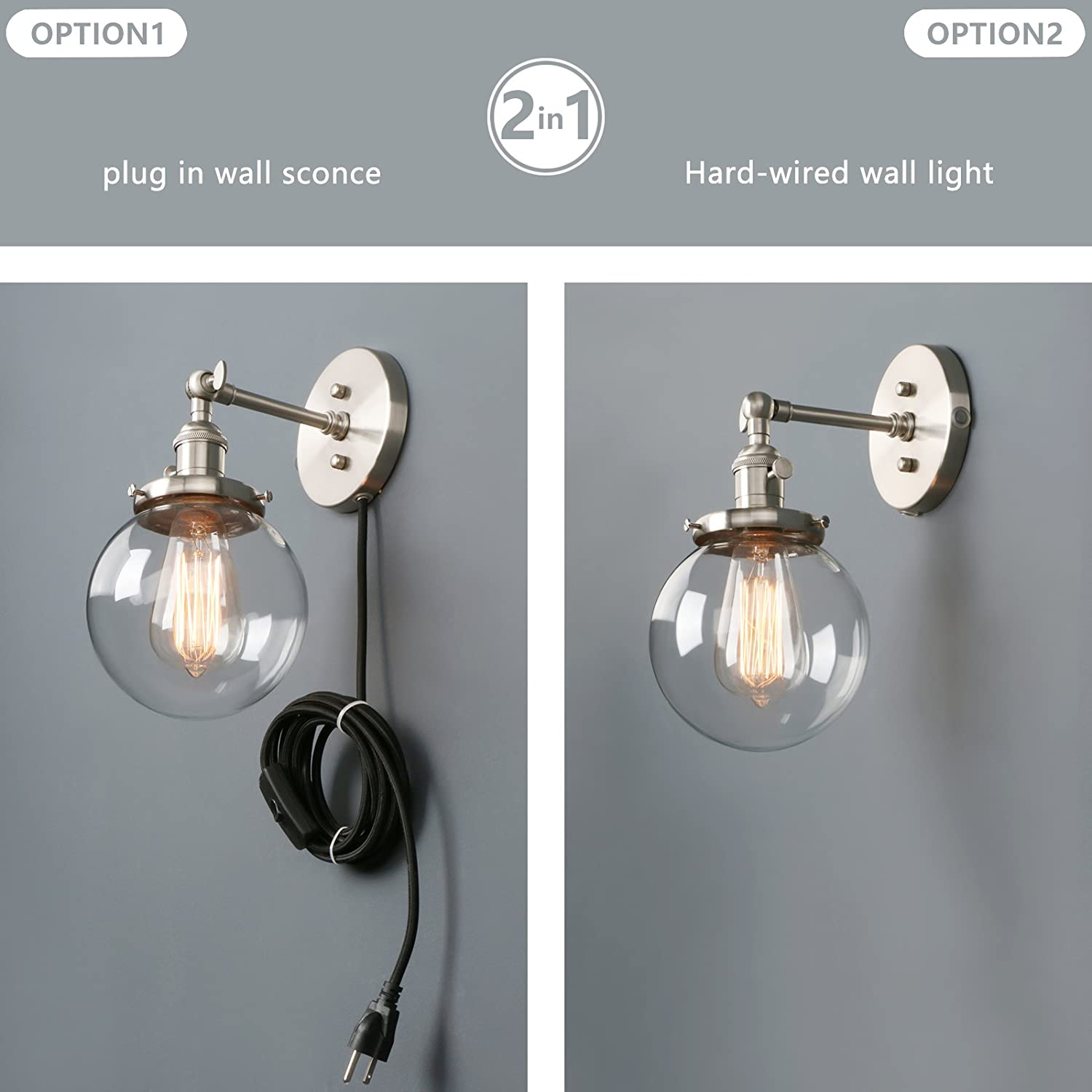 Phansthy Industrial Wall Sconce 1-Light Globe Sconce Light with a ...