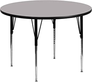 Flash Furniture 60'' Round Grey Thermal Laminate Activity Table - Standard Height Adjustable Legs