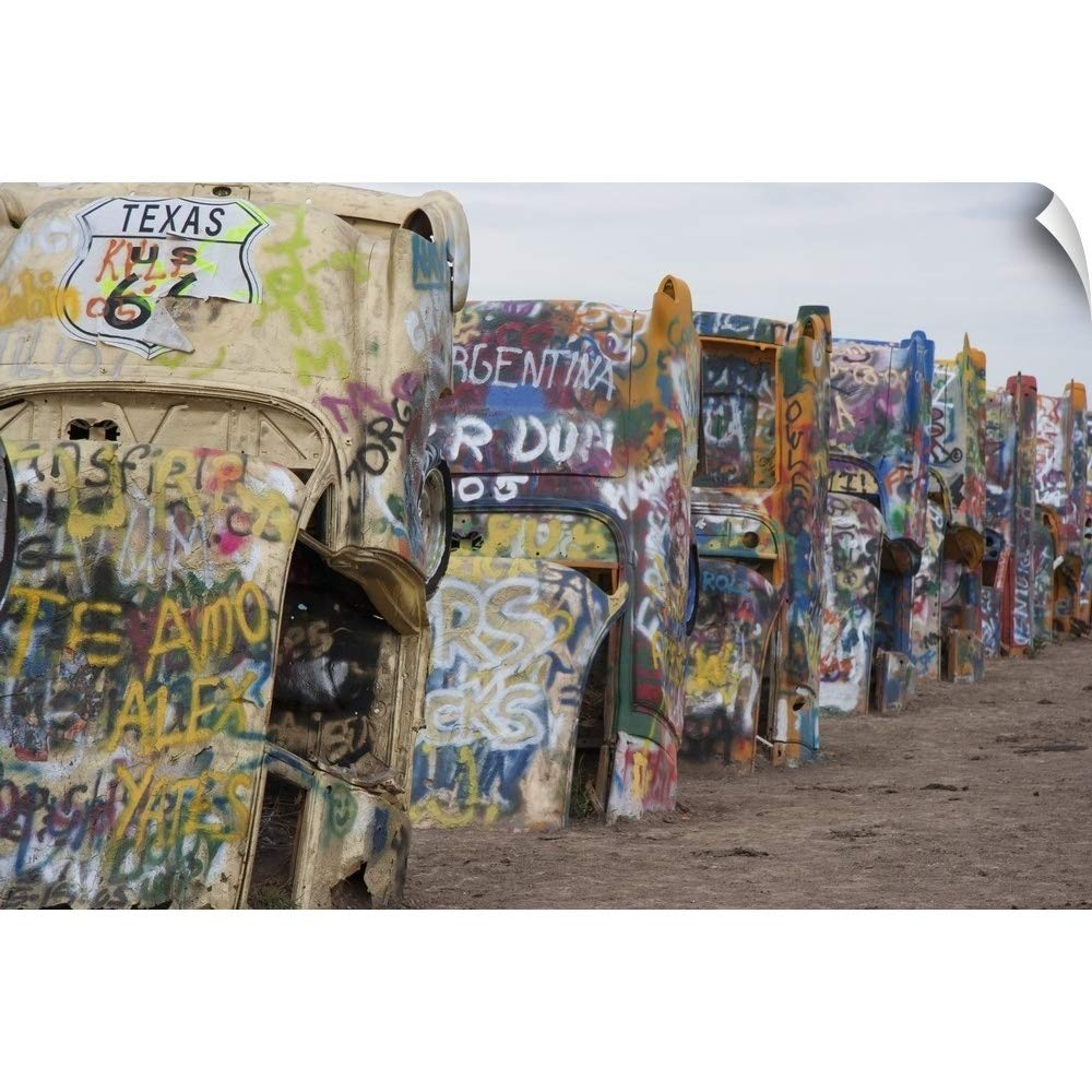 "CANVAS ON DEMAND Wall Peel Wall Art Print Entitled Cadillac Ranch Along Route 66, Texas 18""x12"""