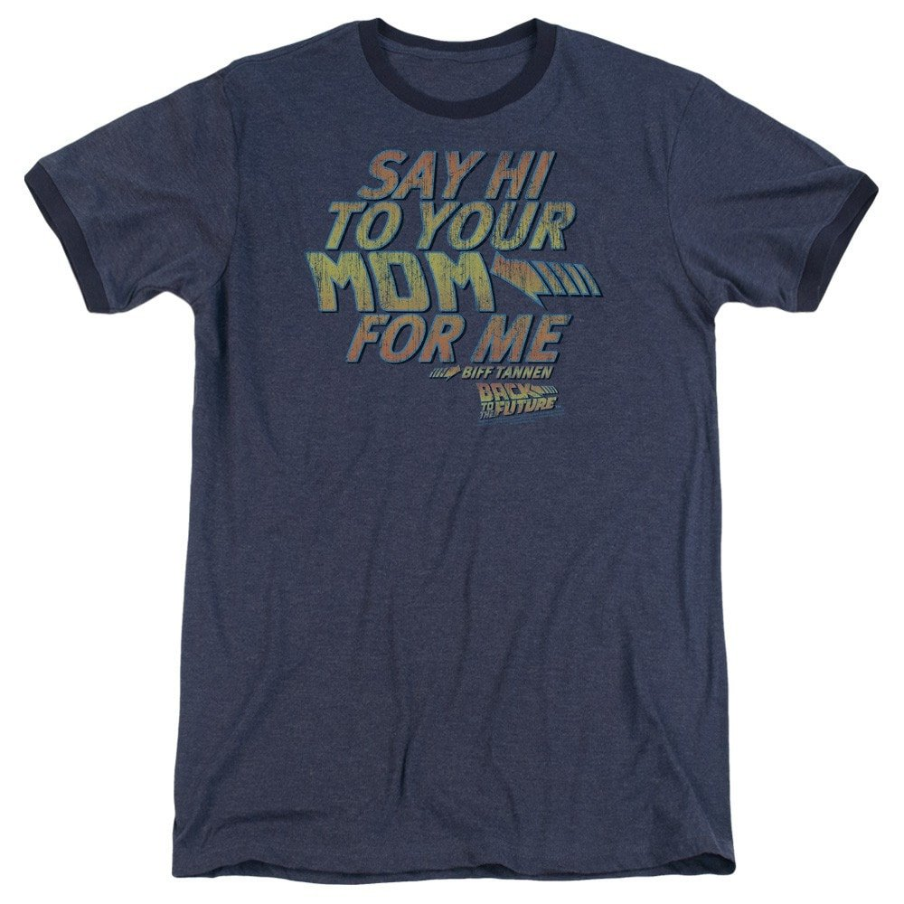 Say Hi Adult Ringer T Back To The Future Shirt