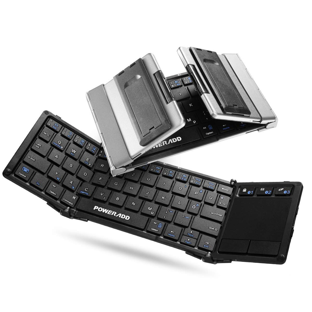 Poweradd Bluetooth Faltbare Tri-fold Tastatur mit Touchpad für iOS, Android, Windows, PC, Tablets und Smartphone