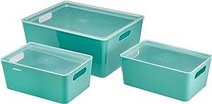 AmazonBasics Plastic Kitchen Storage Bins - Set of 3