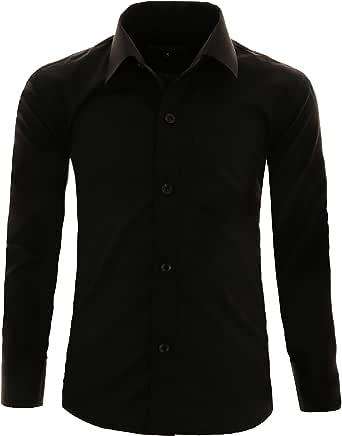 GILLSONZ A1vDa - Camisa para niños (fácil de planchar, manga larga, 9 colores, tallas 86-170)