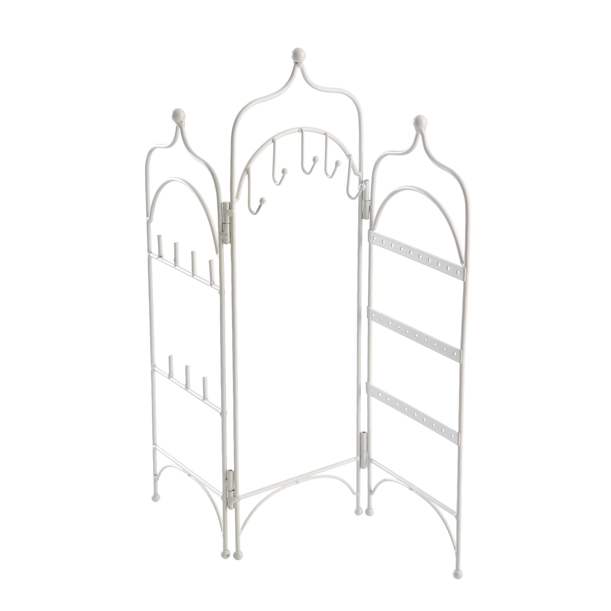 Modern White Metal 3 Panel Trellis Folding Jewelry Hanger Organizer for Bracelet, Earrings, Necklace