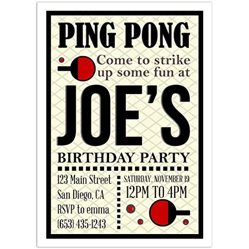amazon com ping pong red and black birthday party invitations handmade