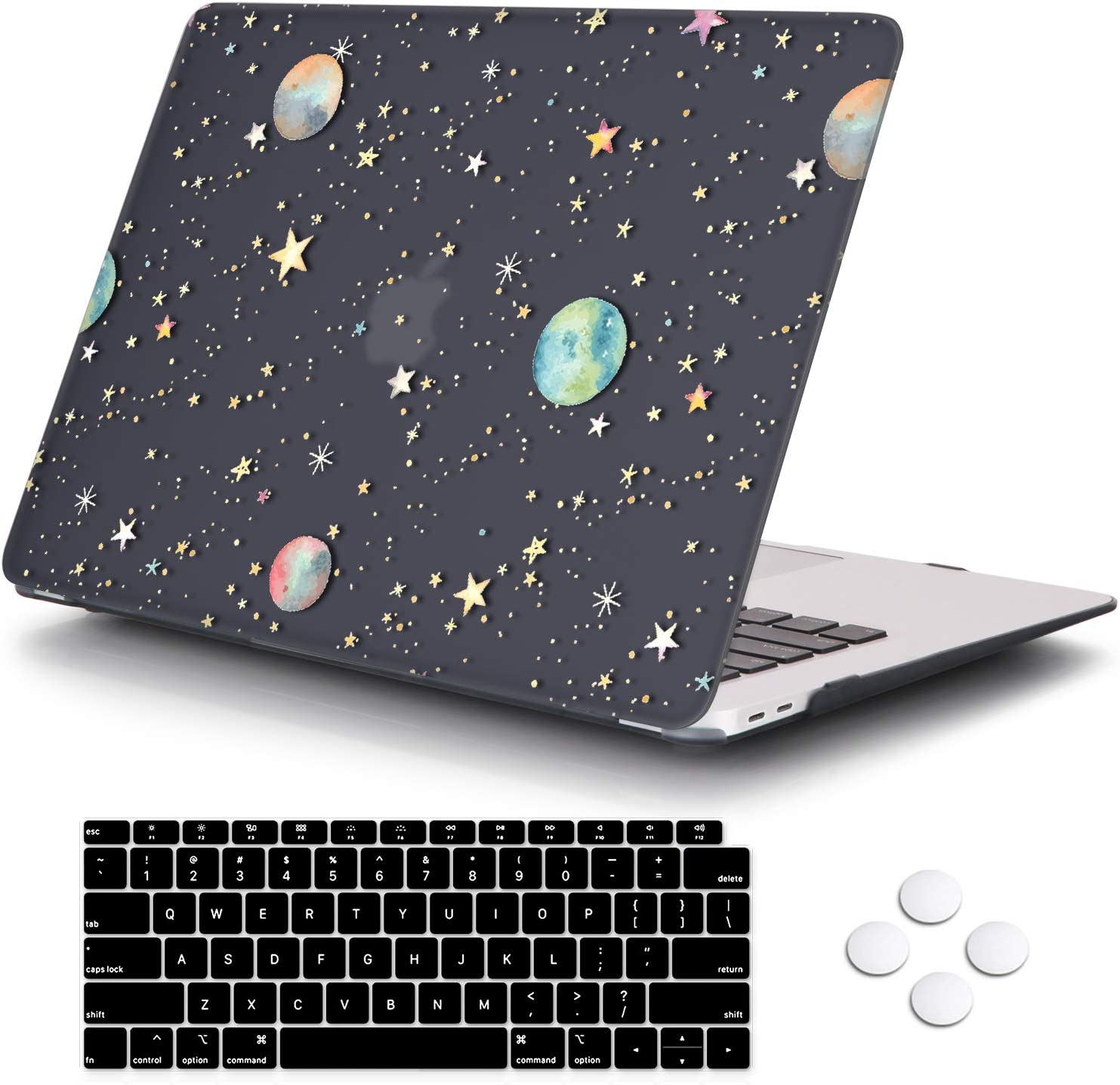 DQQH MacBook Air 13 Inch Case 2020 2019 2018 Release A2179 A1932 with Touch ID Retina Display, Plastic Hard Shell Case and Keyboard Cover for Newest Mac Air 13'' - Starry Night