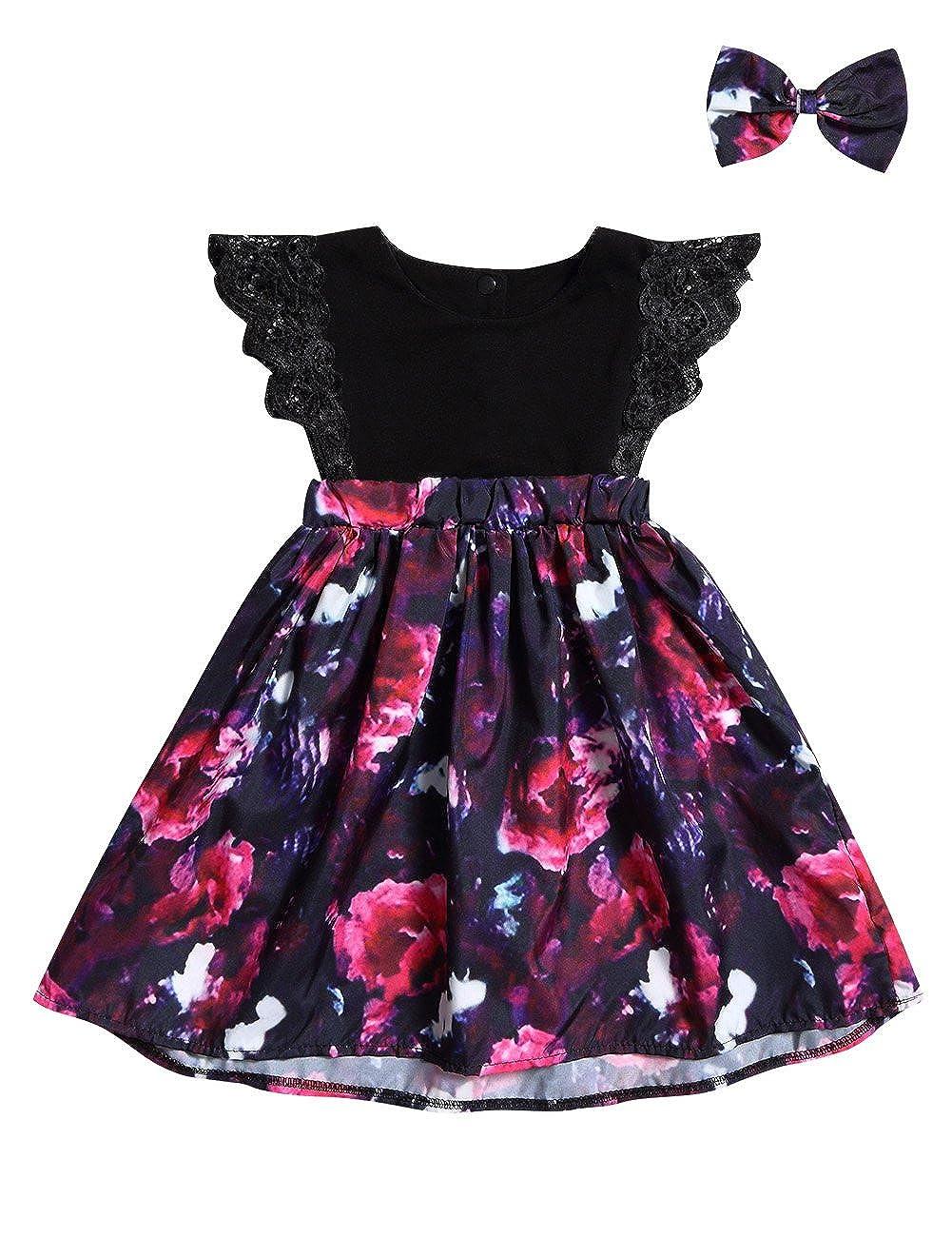 31e2cbd9dc7a0 Newborn Infant Little Girls Matching Dress Features hollow out lace crochet  butterfly flutter short sleeves, floral printing ...