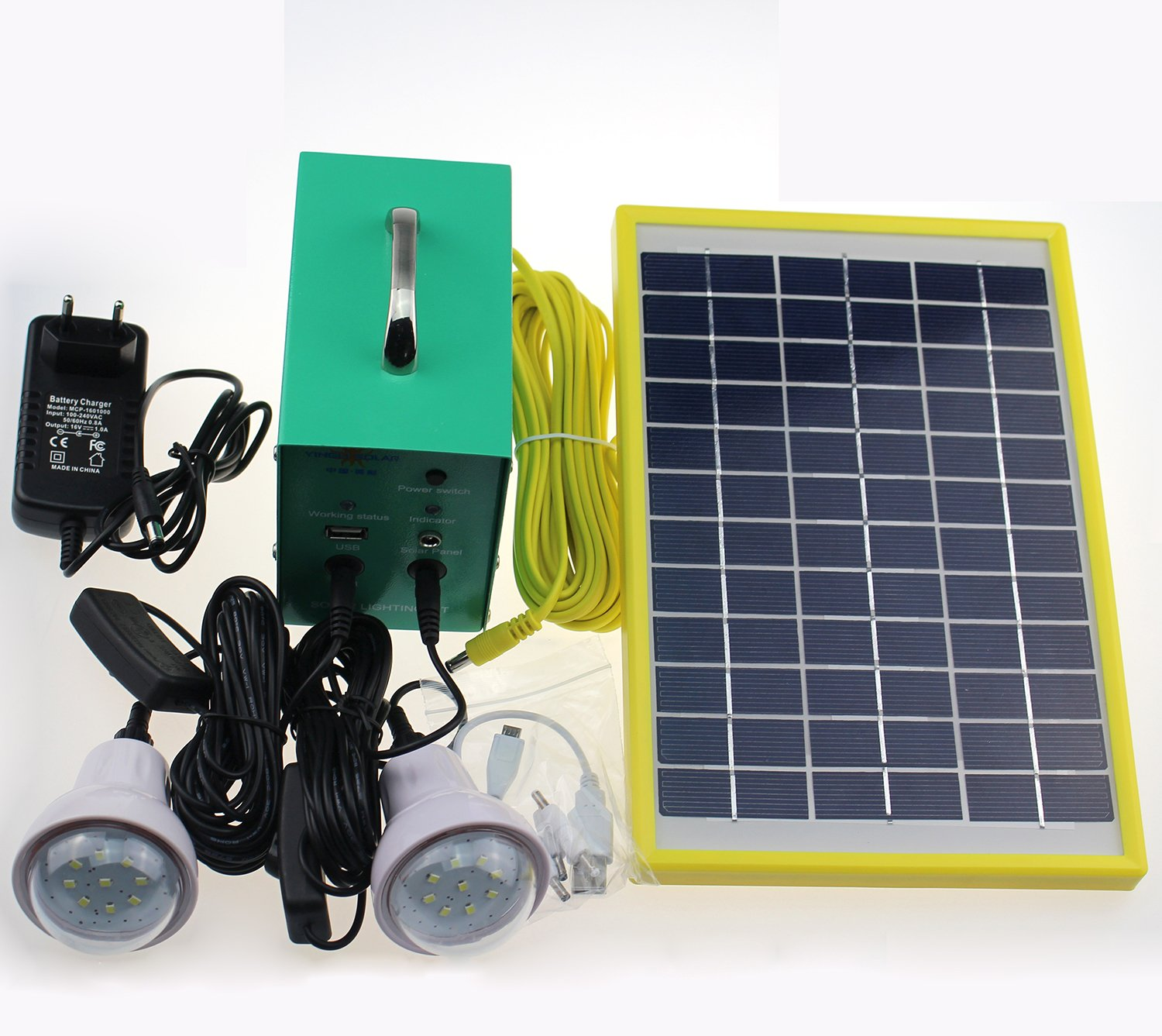 Cowin Solar Lighting Kit - 5W Solar Panel, 12V/4Ah Battery with Controller, 2 x 1W Lamps, 100-240V AC Adapter by COWIN