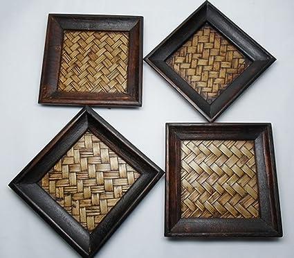 Amazon Com Delux 4 Pc Thai Craft Design Wood Weave Bamboo Squrae