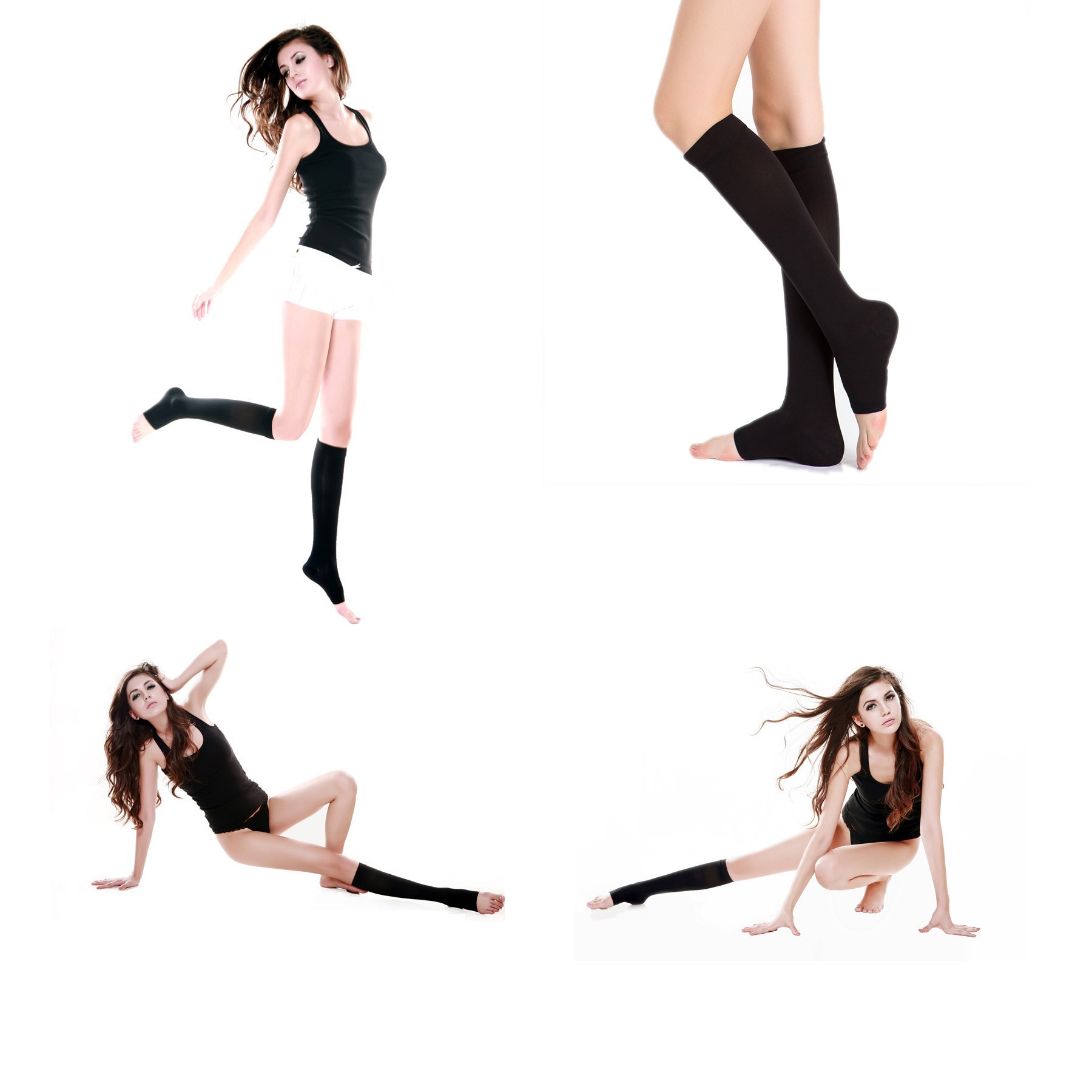 Knee High Compression Stockings, Firm Support 15-25mmHg Opaque Maternity Pregnancy Compression Socks, Open-Toe, Ankle & Arch Support, Swelling, Varicose Veins, Edema, Spider Veins. 1 Pair Black,L
