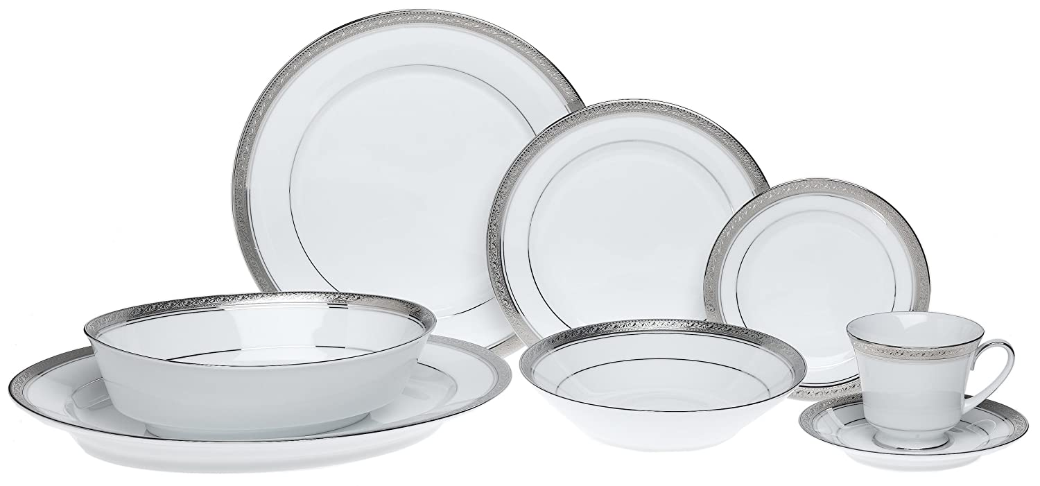Christmas Tablescape Décor - Noritake Crestwood Platinum Fine Bone China 50-Piece Set, Service for 8