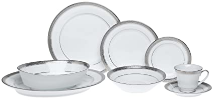 Amazon.com | Noritake Crestwood Platinum - 50 piece set, service for ...