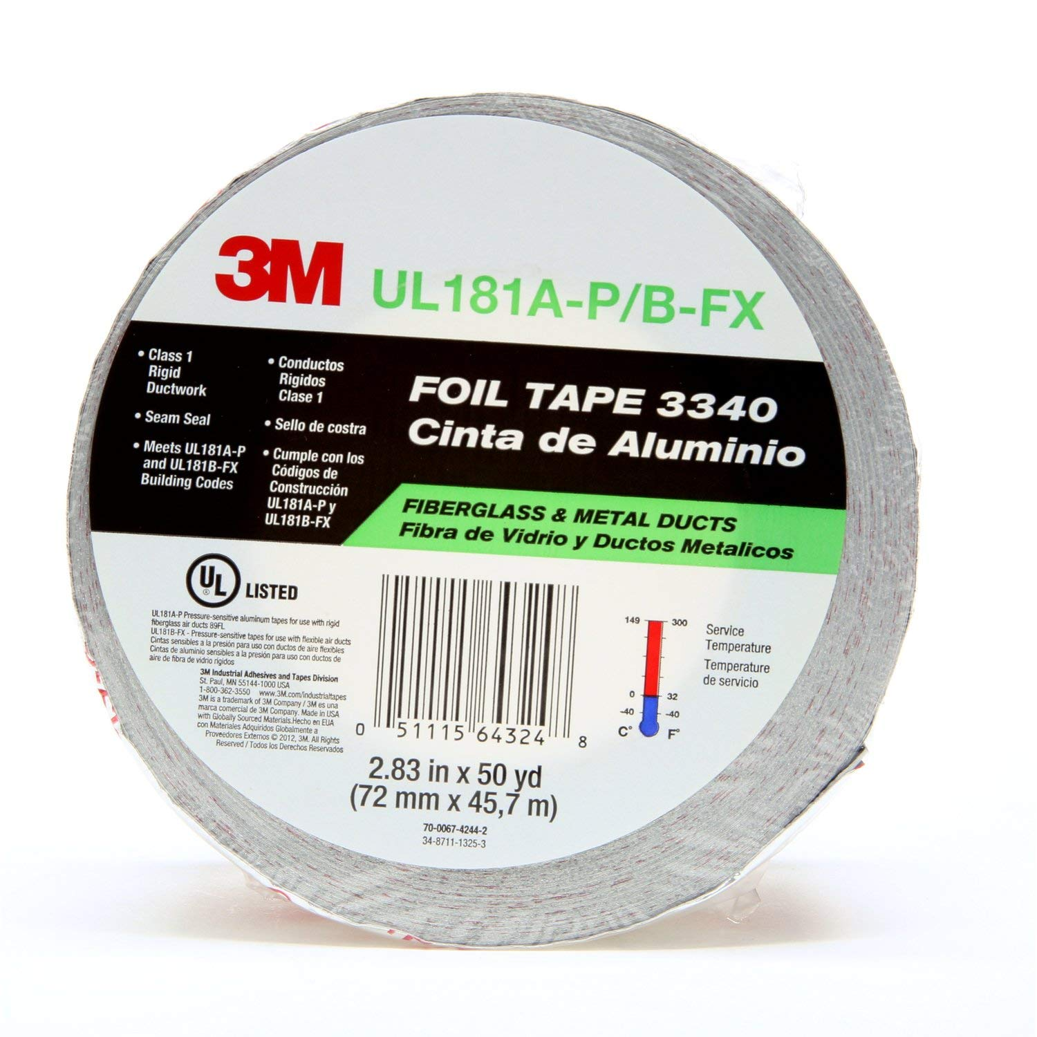 """3M Aluminum Foil Tape 3340, 2.5"""" x 50 yd, 4.0 mil, Silver, HVAC, Sealing and Patching Hot and Cold Air Ducts, Fiberglass Duct Board, Insulation, Metal Repair"""