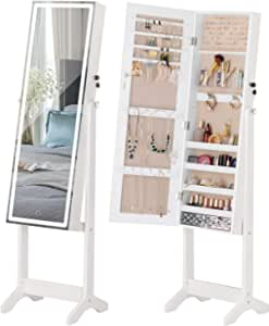 LUXFURNI LED Light Jewellery Cabinet Standing full Screen Mirror Makeup Lockable Armoire, Large Cosmetic Storage Organizer w/Brush Holder white