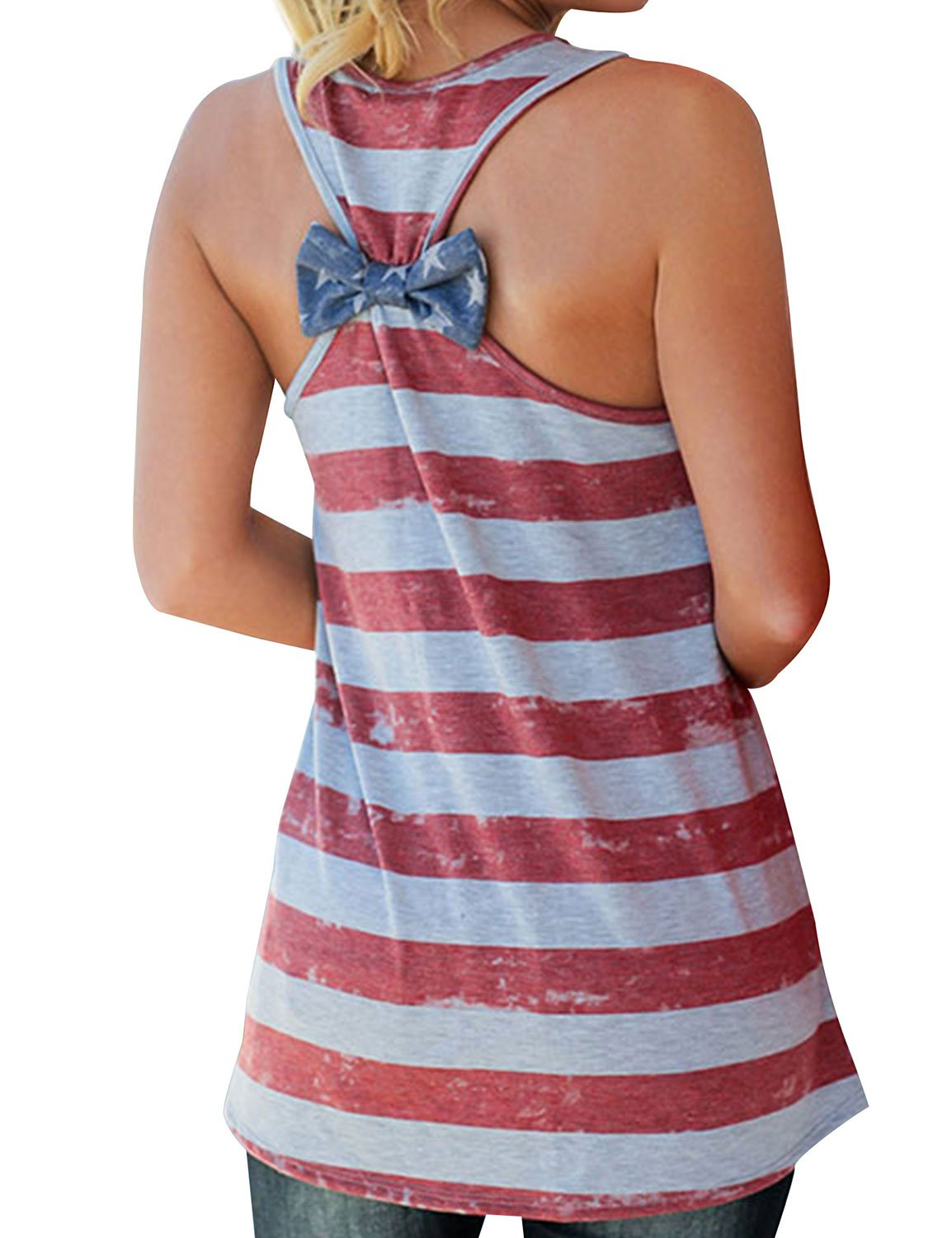 Nlife Women American Flag Tops Round Neck Sleeveless Tank Top Bow Tie Back Top Casual Blouse Top