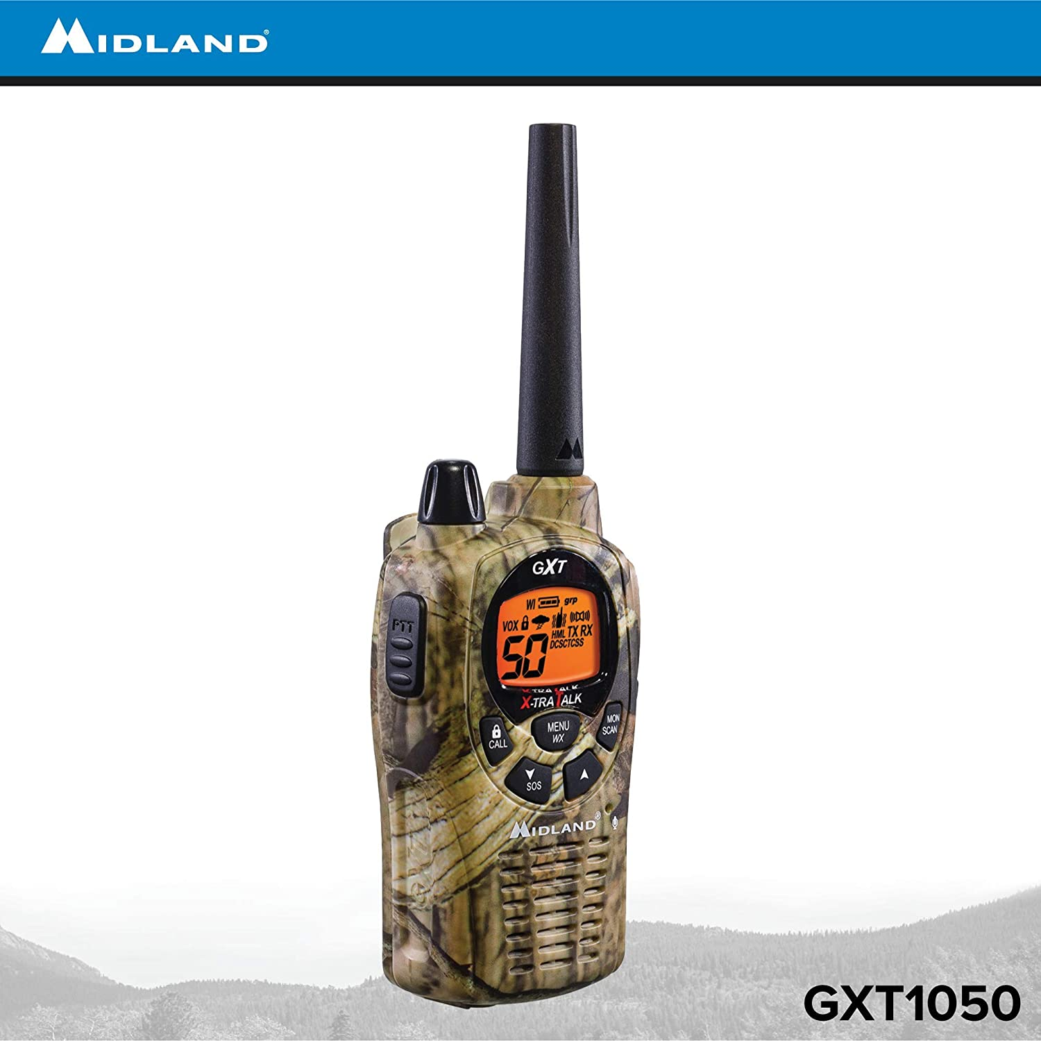 Midland GXT1050VP4 50 Channel GMRS Two-Way Radio Up to 36 Mile Range Walkie Talkie Pair Pack Mossy Oak Camo